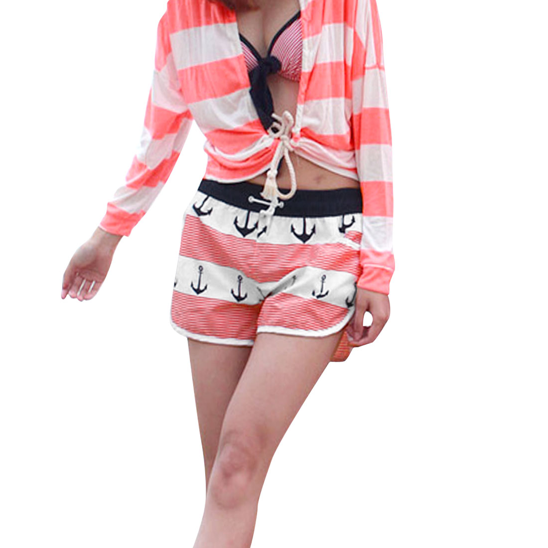 Lady Elastic Waist Slant Side Pockets Anchor Stripes Pattern Shorts Red White S