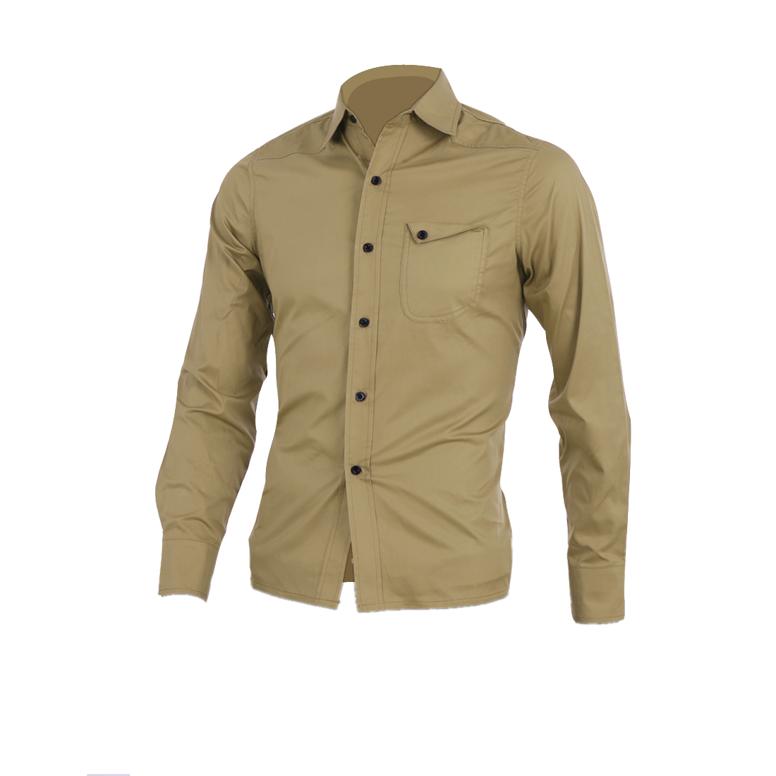Men Button Front Point Collar Long Sleeve Round Hem Casual Shirt S Khaki