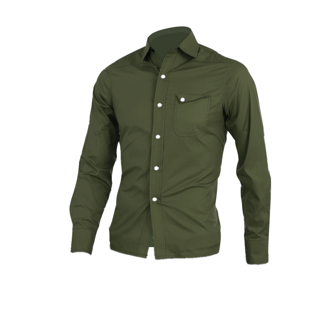 Men Chest Pocket Front Button Closure Round Trim Top Shirt S Olive Green