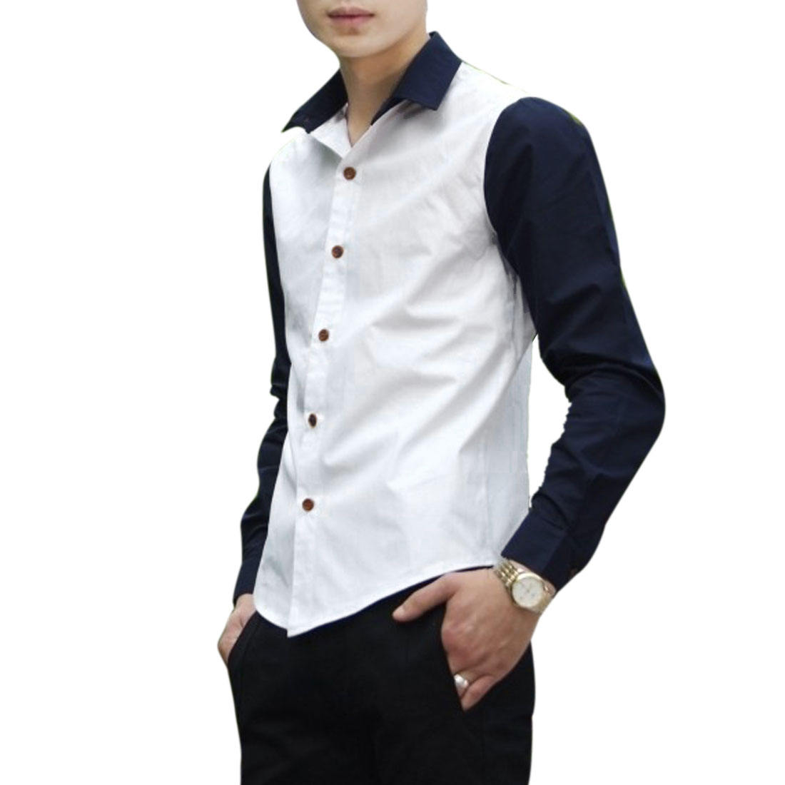 Men Point Collar Single Breasted Long Sleeve Round Hem Top Shirt S White
