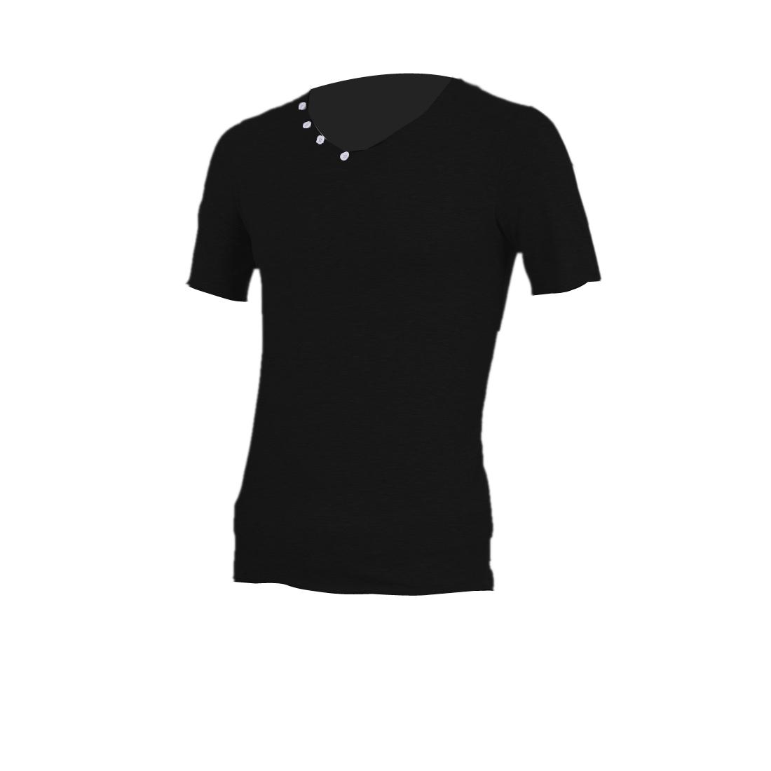 Short Sleeve Slim Fit Design Stylish Men Fashionable Top Shirt M Black