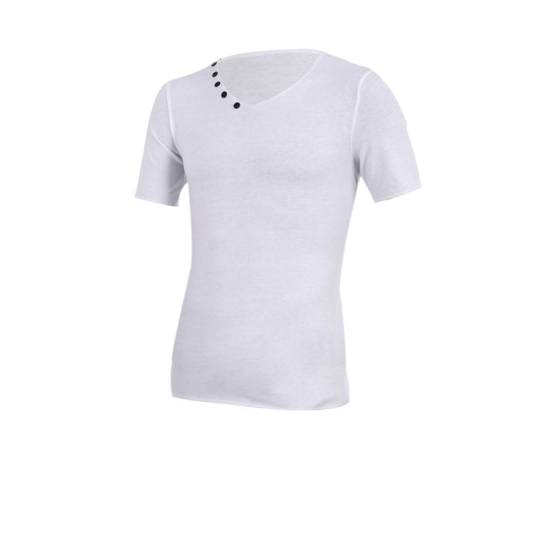 Men V Neck Design Solid Color Short Sleeve Pullover Style Shirt White M
