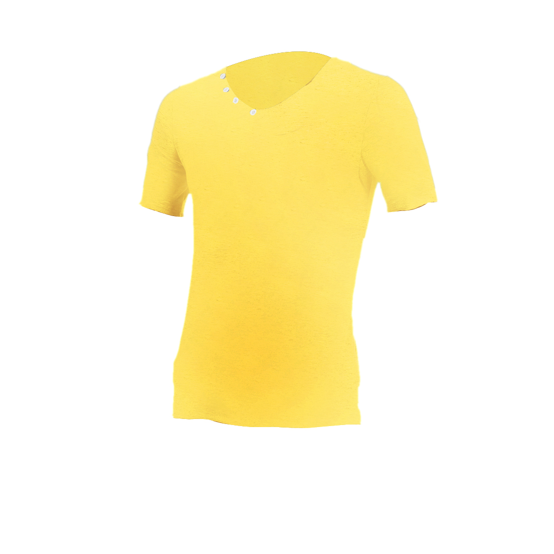 Men V Neck Style Short Sleeve Stretchy Summer Casual T-Shirt Yellow M