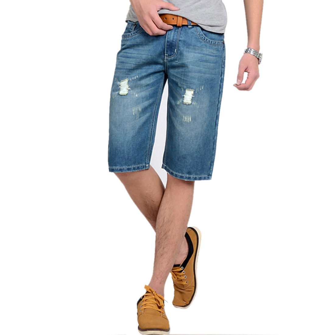 Men Waistband Loop Straight Leg Destroyed Detail Design Jeans Shorts Blue W35