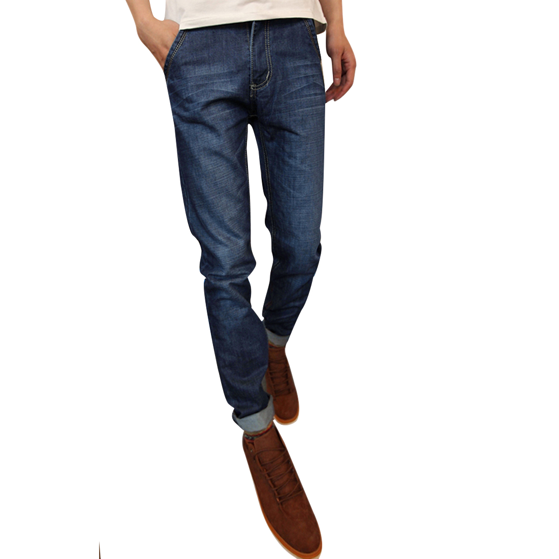 Men Buttoned Closure Washed Detail Straight Leg Chic Jeans Dark Blue W32