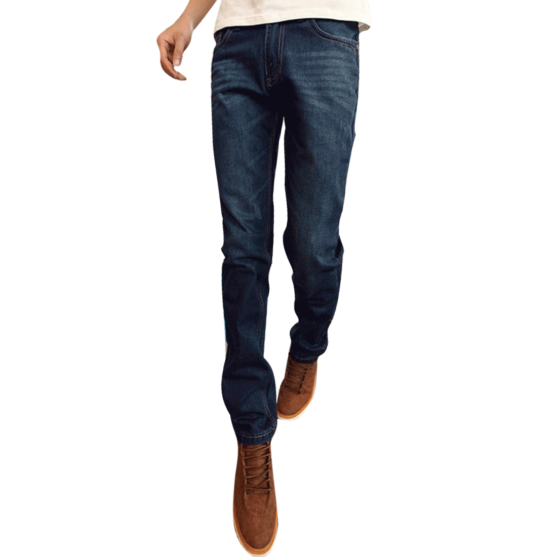 W33 Blue Concealed Zipper Hip Pockets Slim Fit Men Fashion Jeans Pants