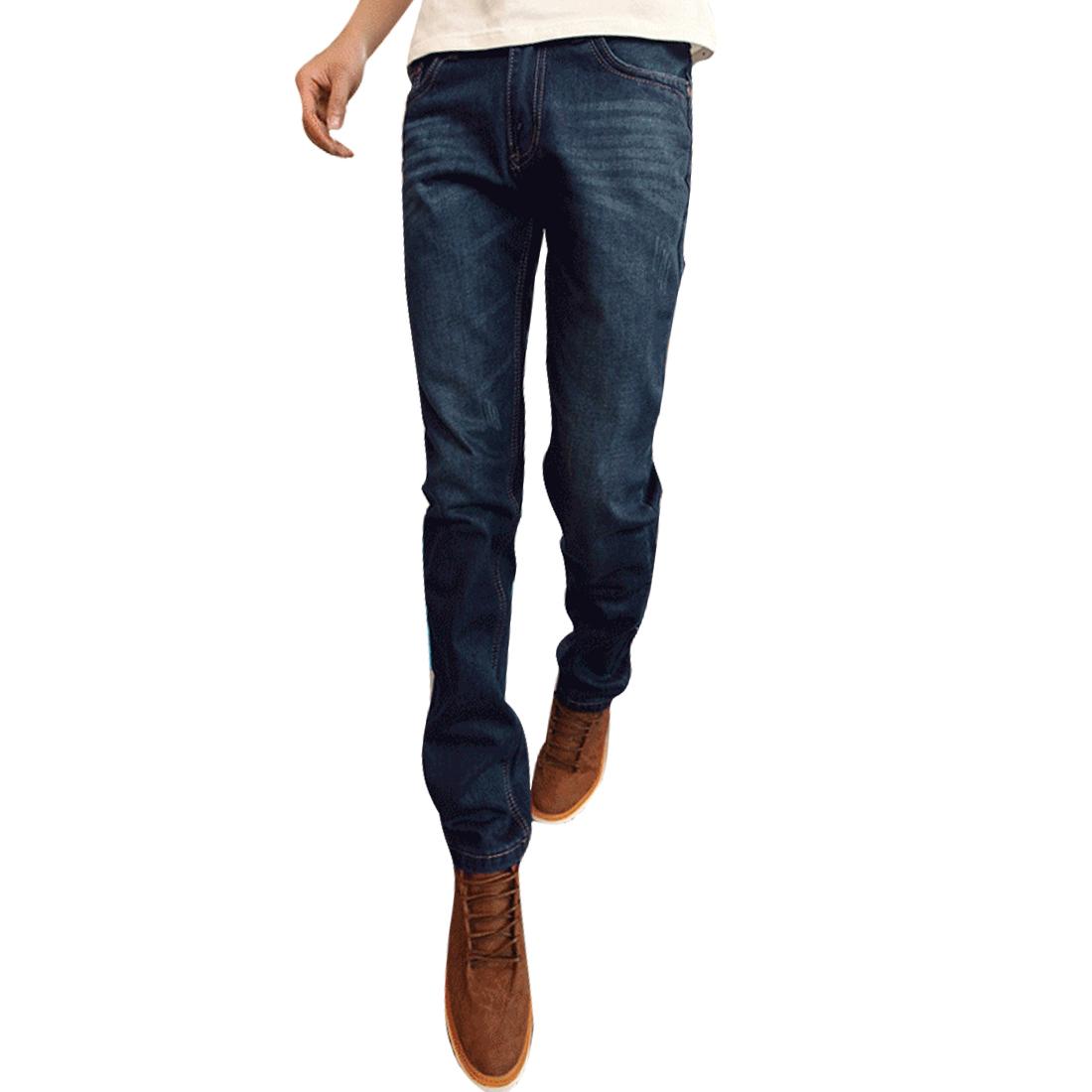 Men Belt Loops Zipper Fly Button Closure Slim Fit Jeans Pants Blue W36
