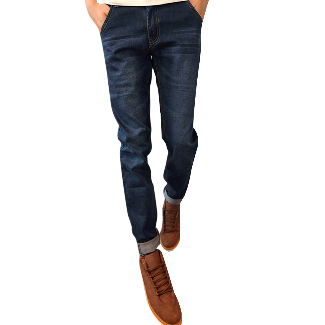 Men Slim Fit Waistband Loop Pockets Straight Long Jeans Dark Blue W35
