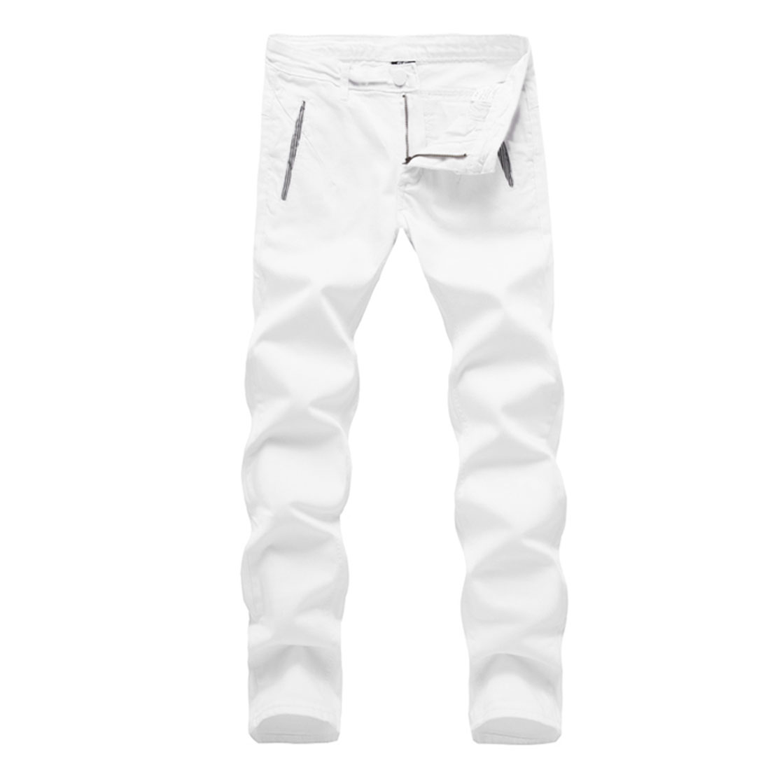 White W30 Zipper Fly Button Closure Slim Fit Style Men Pants Trousers