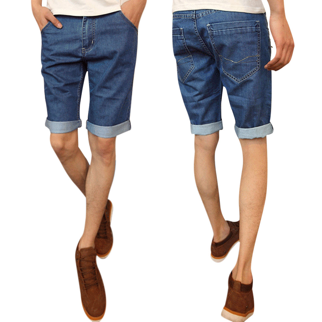 Men Summer Zip Fly Closure Five Pockets Short Jeans Blue W33
