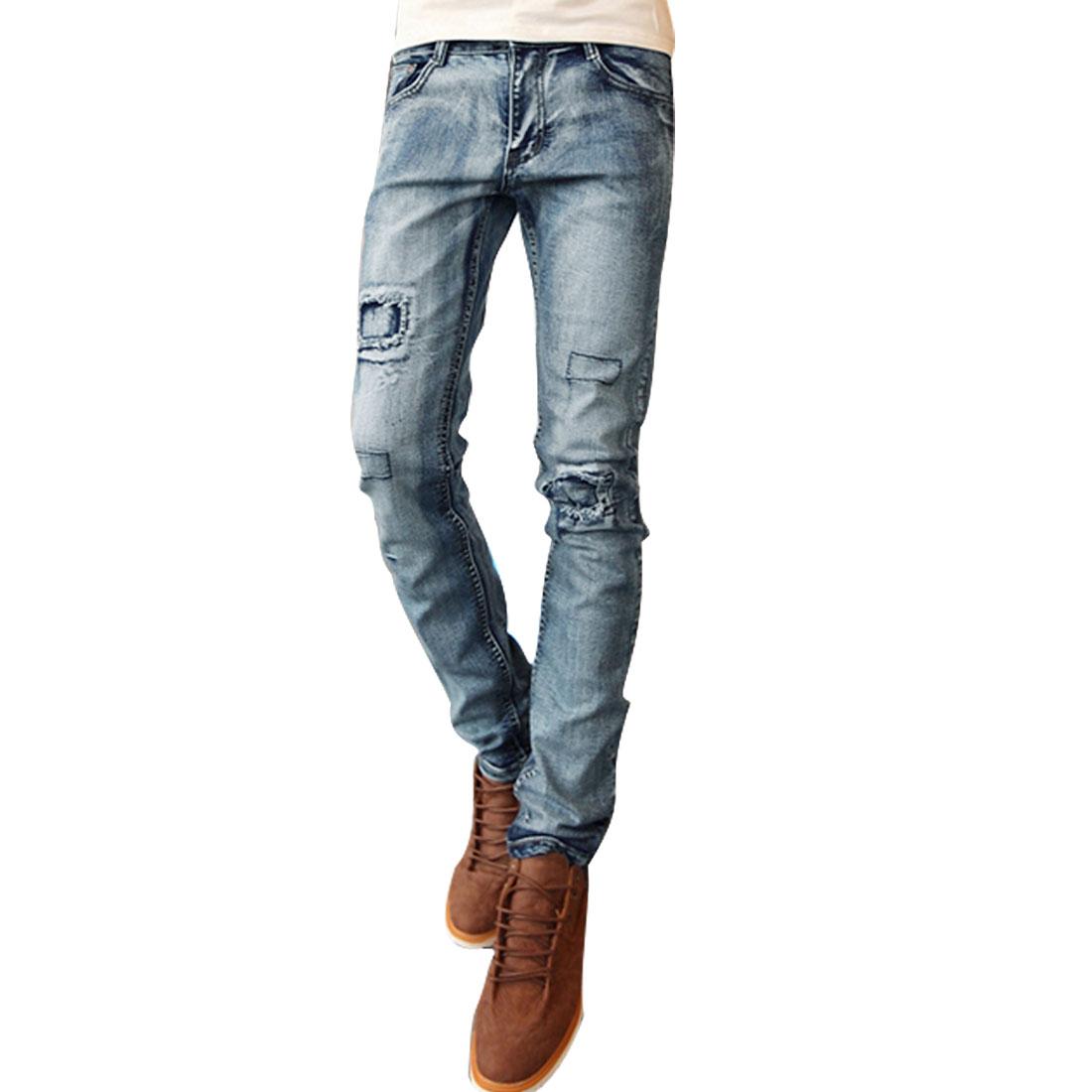 Men Belt Loops Zip Fly Button Closure Back Pockets Slim Fit Jeans Blue W32