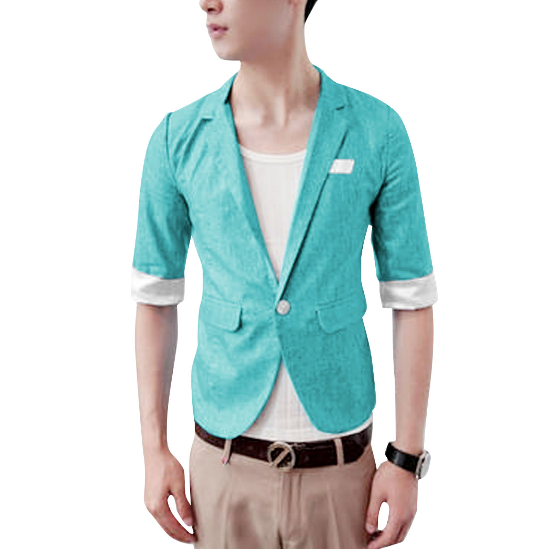 Men Half Sleeve Notched Lapel Roll Up Sleeve Slim Fit Blazer S Light Blue