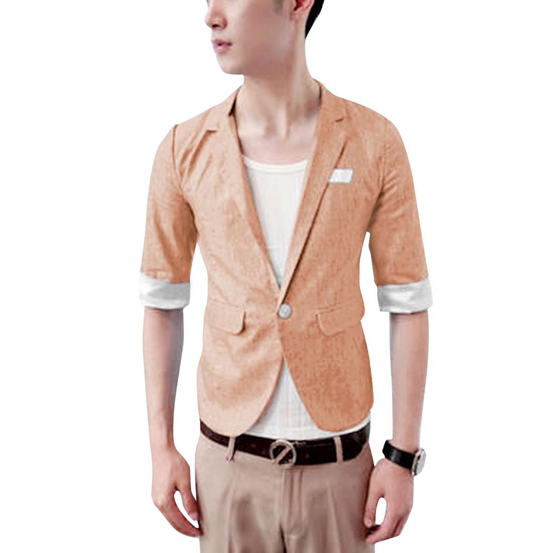S Pink Slim Fit Style Flap Pockets Button Closure Men Fashion Blazer