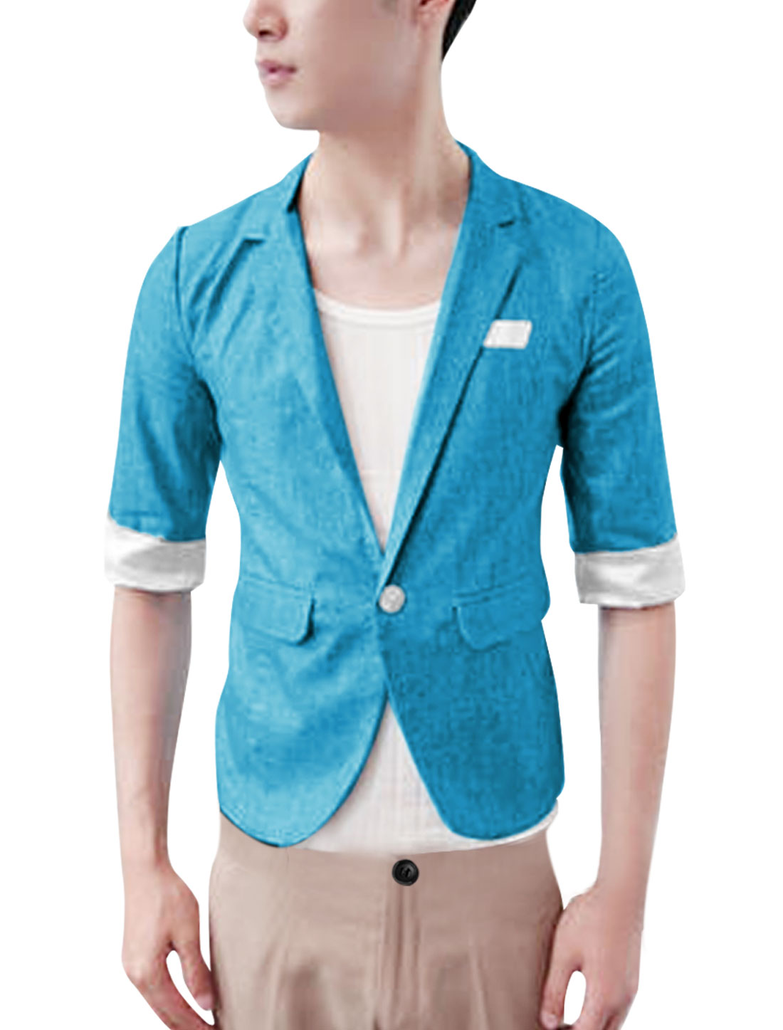 Men Patch Pockets Notched Lapel Design Skinny Fit Stylish Blazer Top Blue S