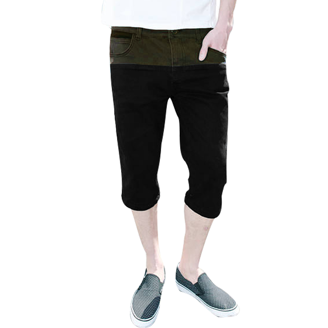 Men Belt Loops Button Closure Zipper Fly Slim Fit Capris Shorts Black W32