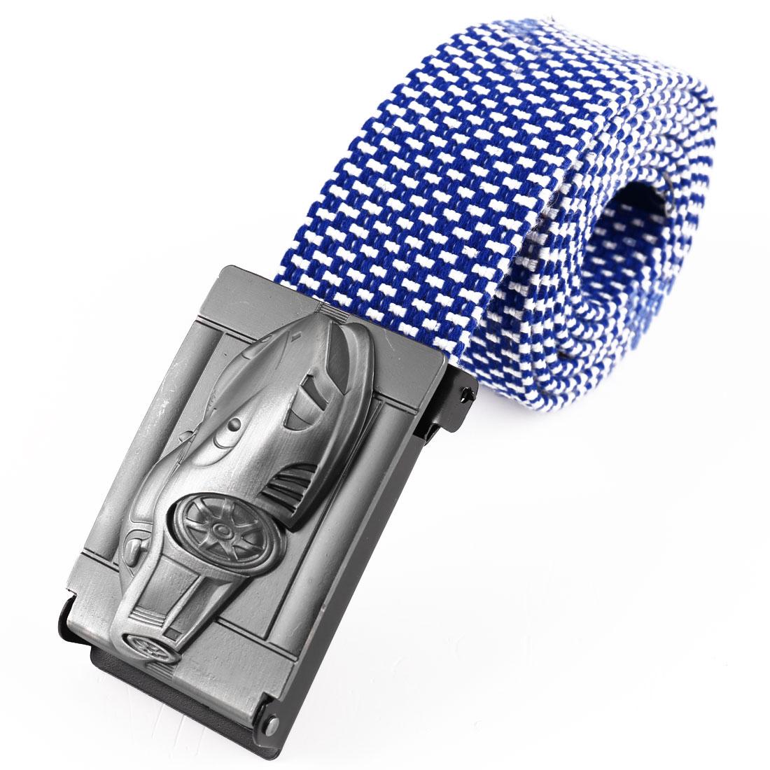 Men Metal Clip Buckle Car Decor Adjustable Belt Blue White