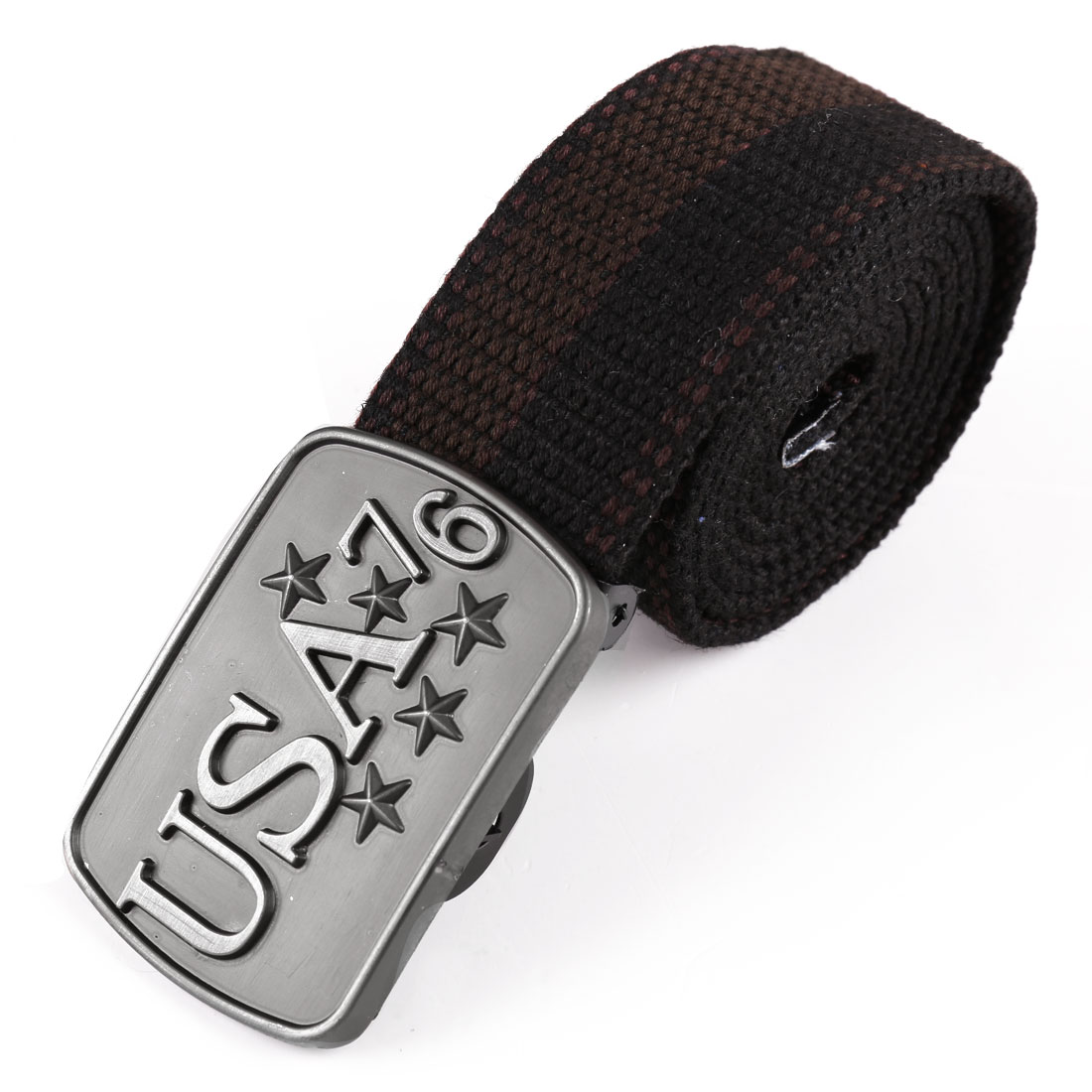 Men Metal Clip Buckle Letter Stars Decor Belt Black Dark Brown