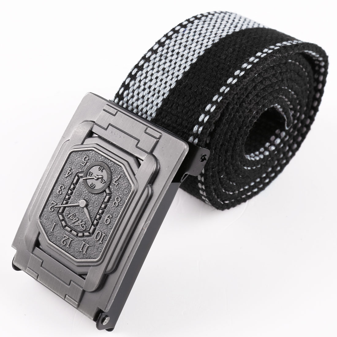 Men Metal Clip Buckle Clock Decor Adjustable Belt Gray Black