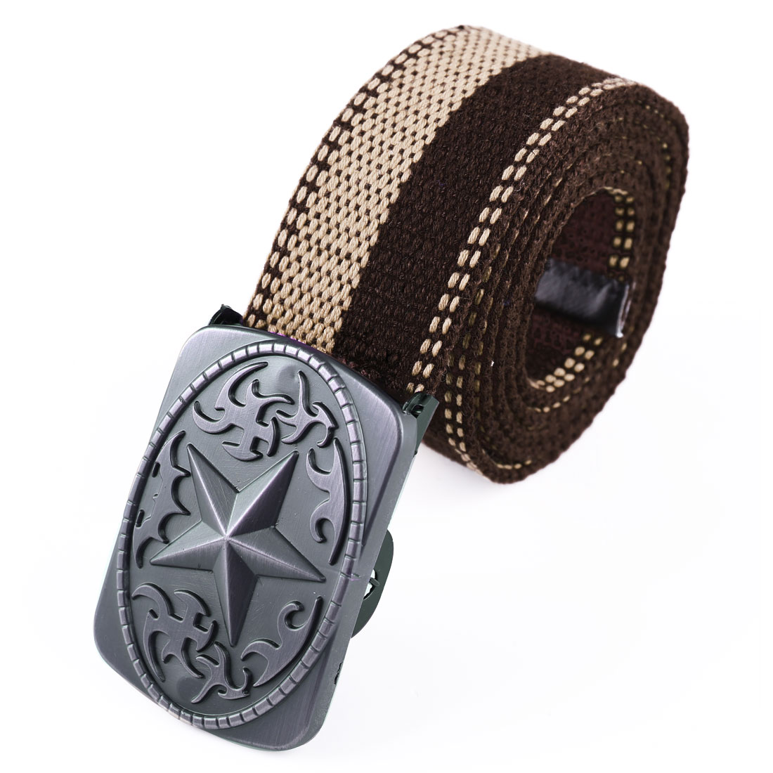 Men Metal Clip Buckle Star Detail Adjustable Belt Coffee Sand