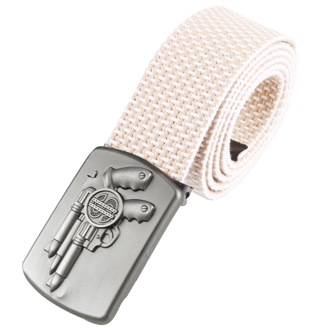 Men Metal Clip Buckle Gun Embellished Belt Khaki White