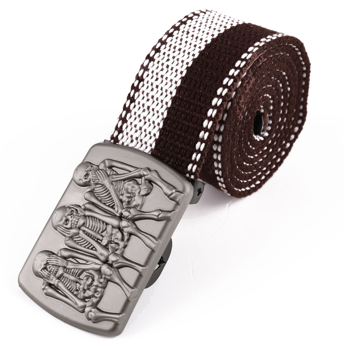 Men Metal Clip Buckle Skeleton Detail Adjustable Belt White Coffee