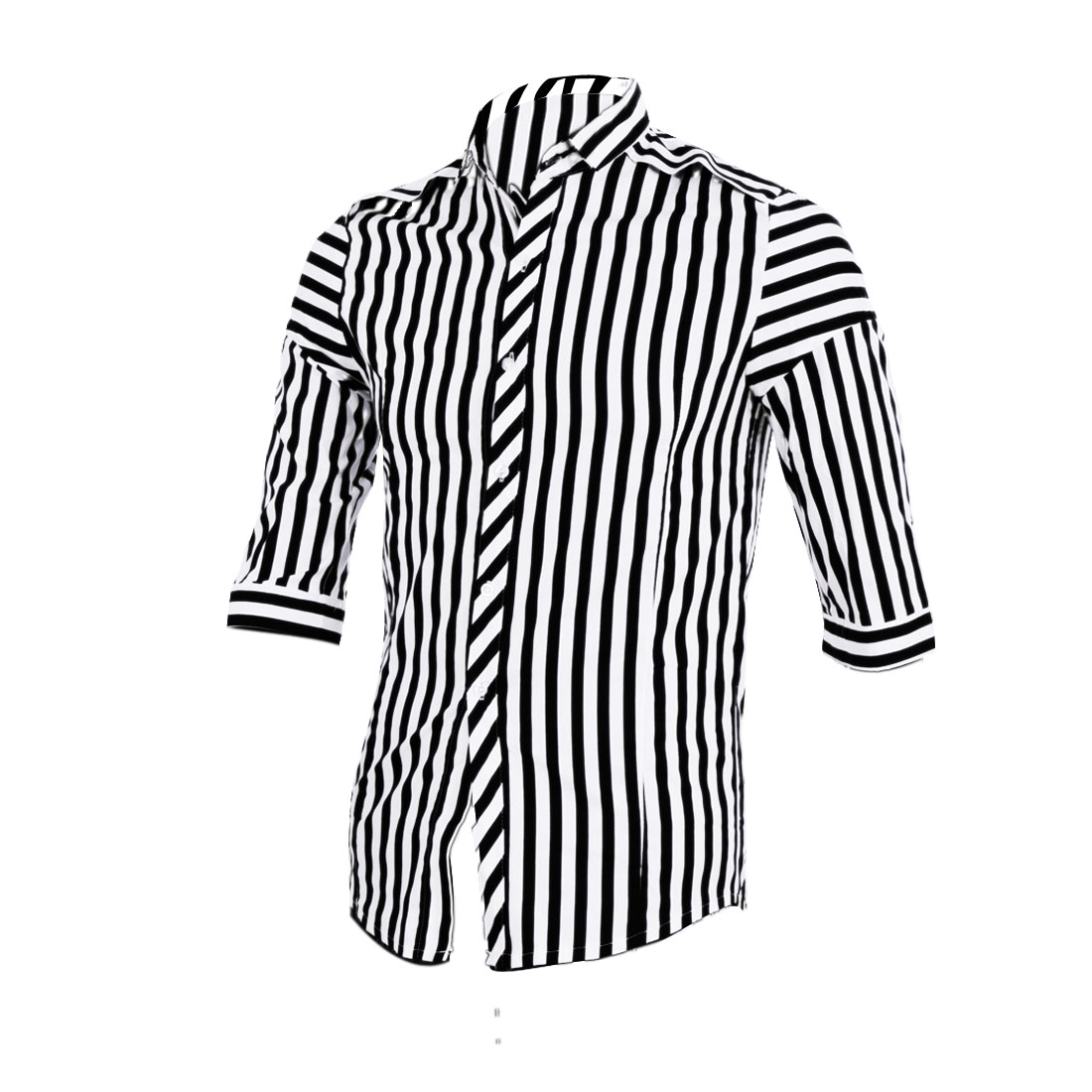 Men Point Collar 3/4 Sleeve Stripes Casual Shirt Black White S