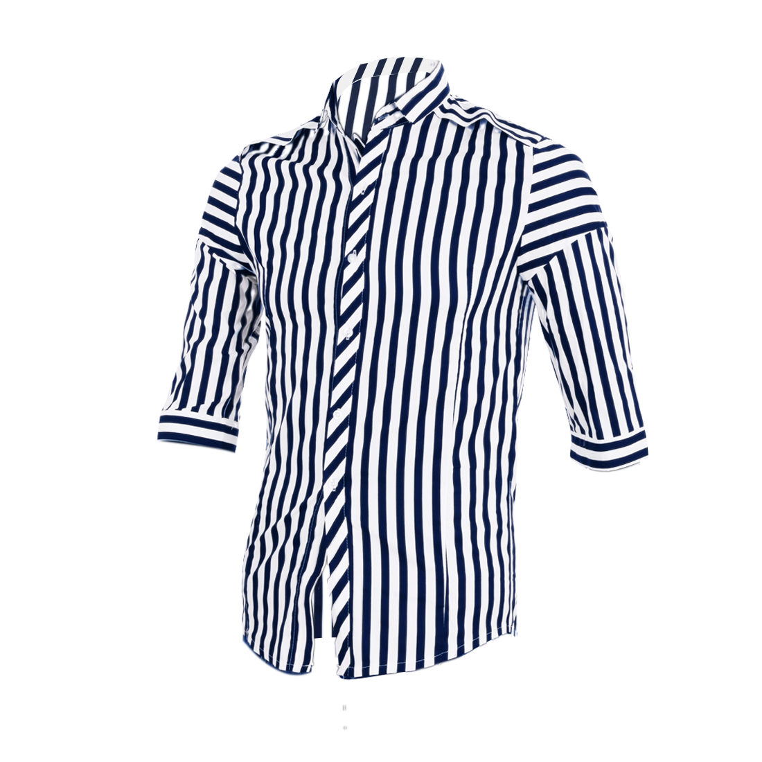 Men Point Collar Buttoned Cuffs Stripes Shirt Navy Blue White S