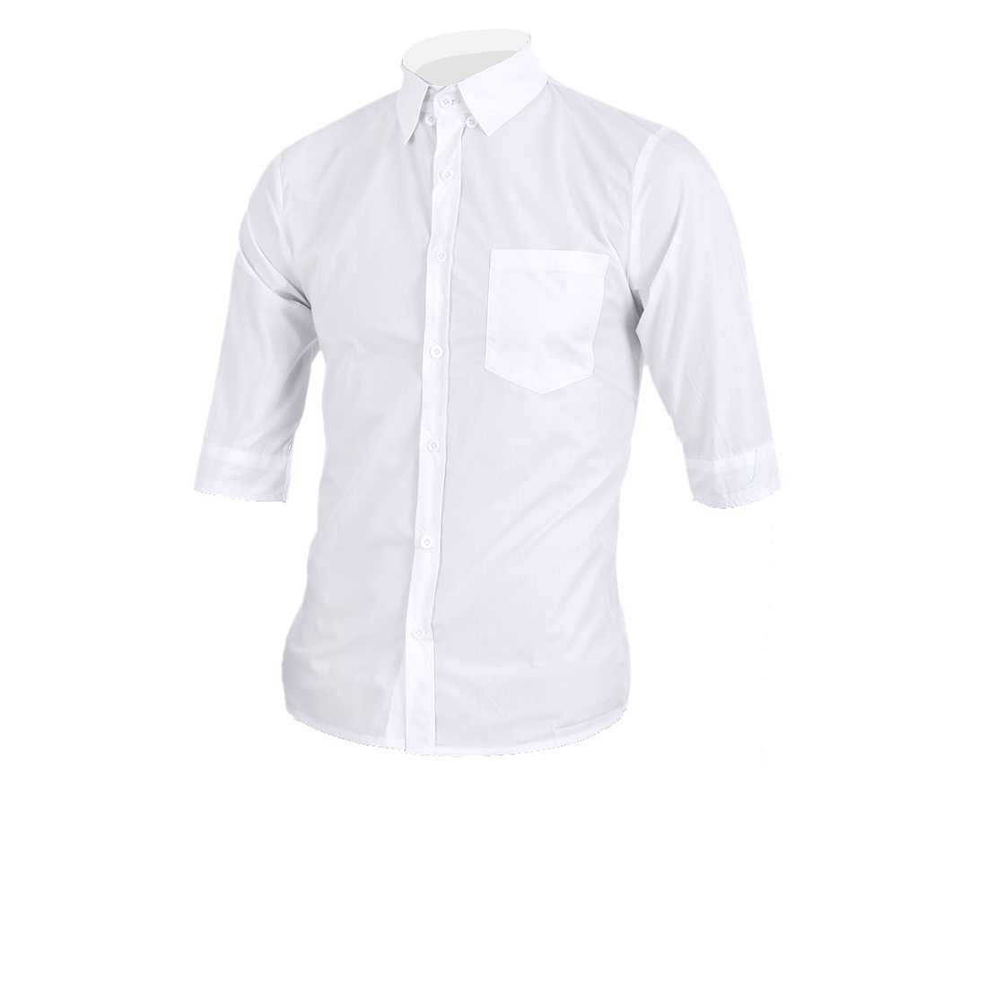 M Men Point Collar Front Button Dowm Stripes Pattern Stylish Shirt White