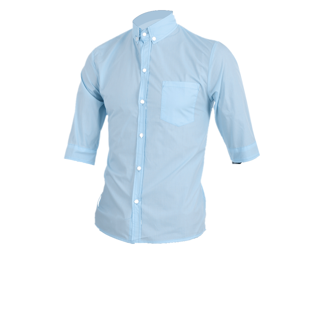 Light Blue M Button Front Design Chest Pocket Round Hem Men Top Shirt