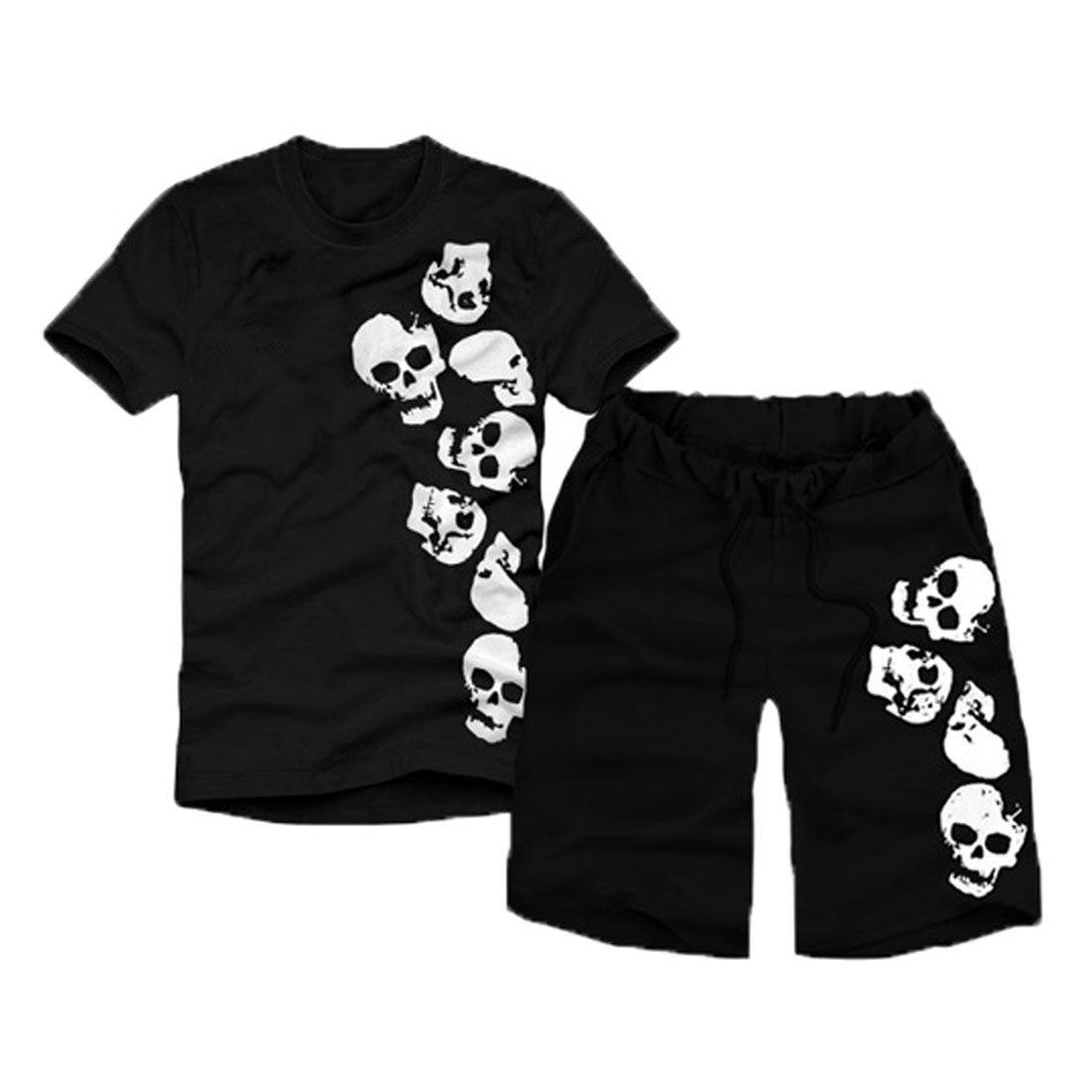 Men Short Sleeve Skulls Pattern T-Shirt w Adjustable Strap Waist Black Shorts S