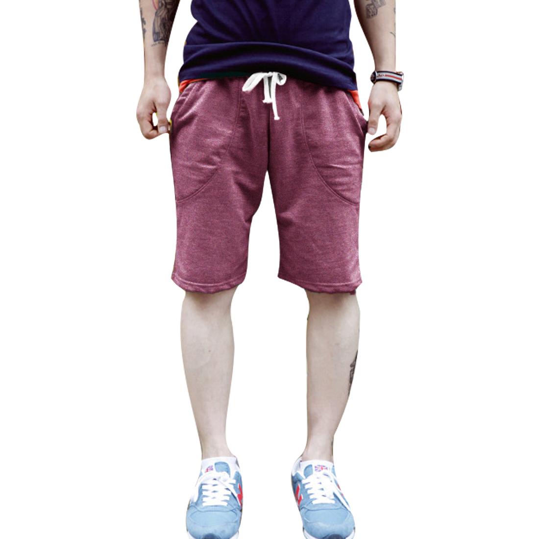 Men Elastic Waist Solid Color Drawstring Summer Casual Shorts Burgundy W32