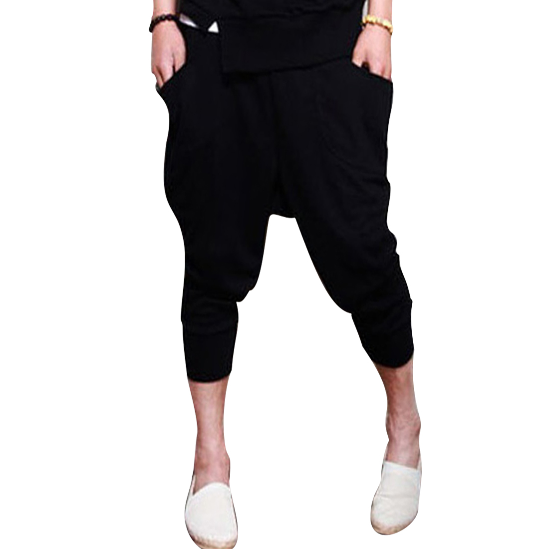 Stylish Men Stretchy Waist Pockets Front Capris Pants Black W28