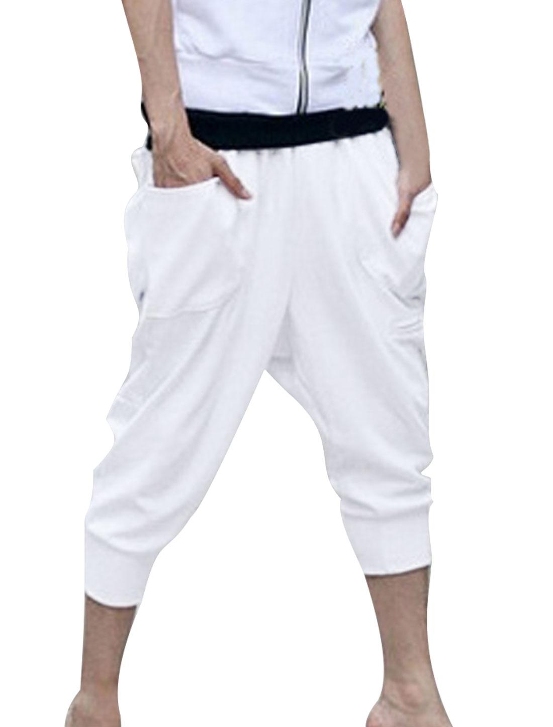 Men Elastic Waist Button Decor Hip Pockets Capris Pants White W28