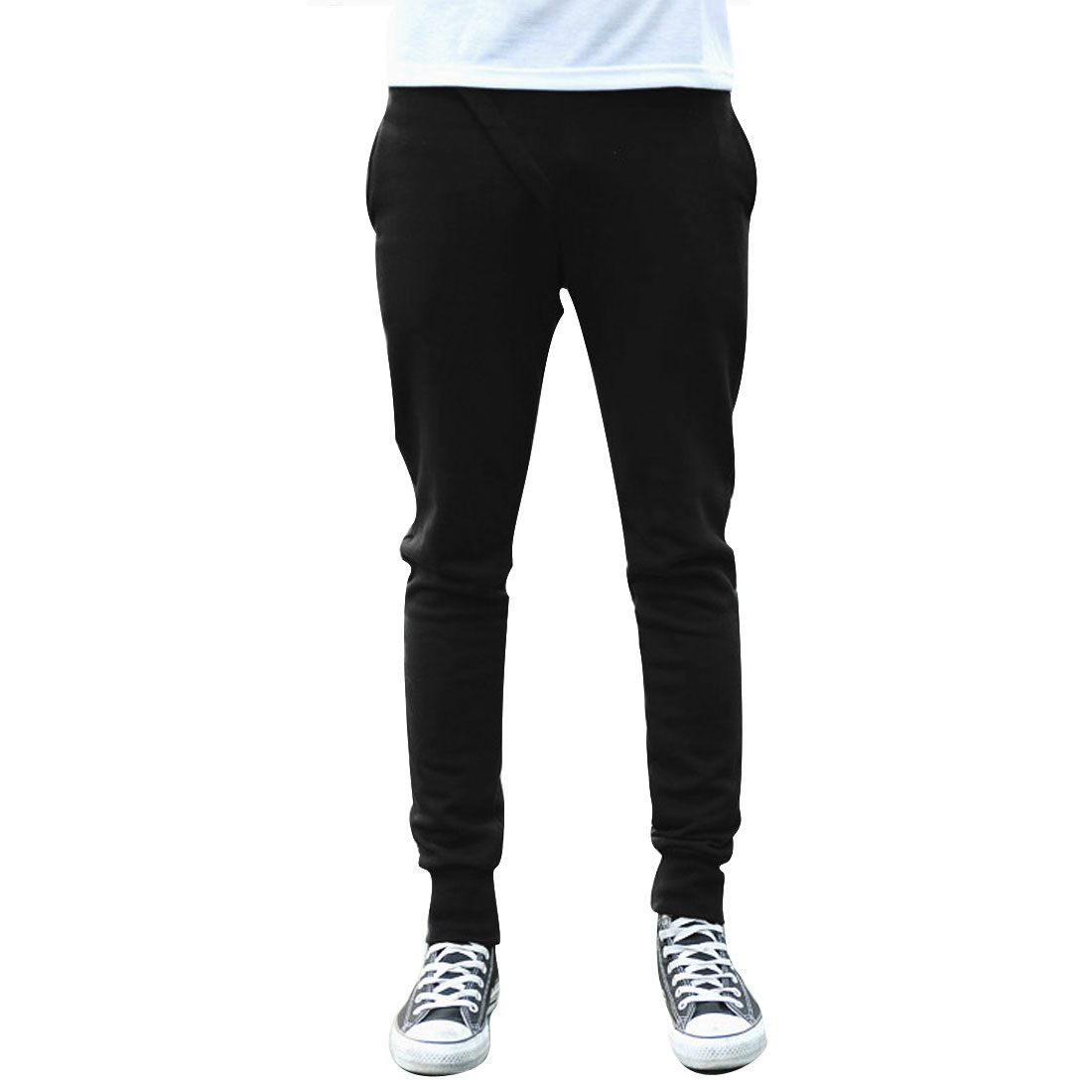 Men Elastic Waist Hip Pockets Casual Stretchy Pants Black W27