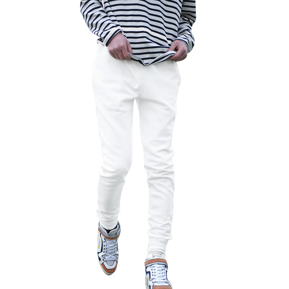 NEWS Men Stretchy Waist Pockets Front Casual Pants White W27