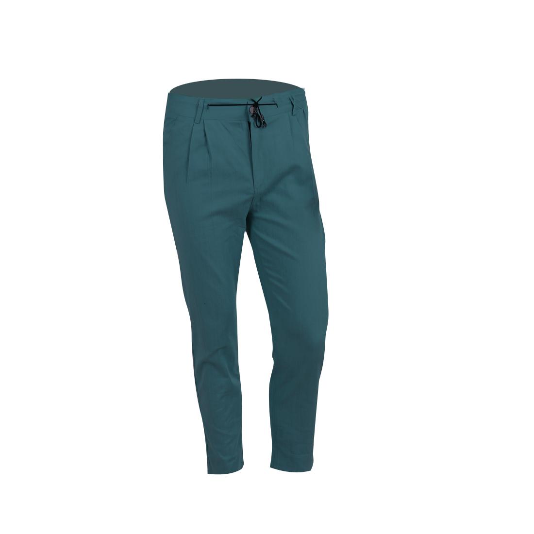 Men Summer Adjustable Strap Waist Pockets Dusty Blue Full-length Pants W30