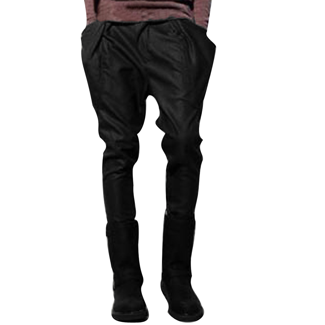 Men Zip Up Waistband Loop Side Pockets Casual Pants Black W33