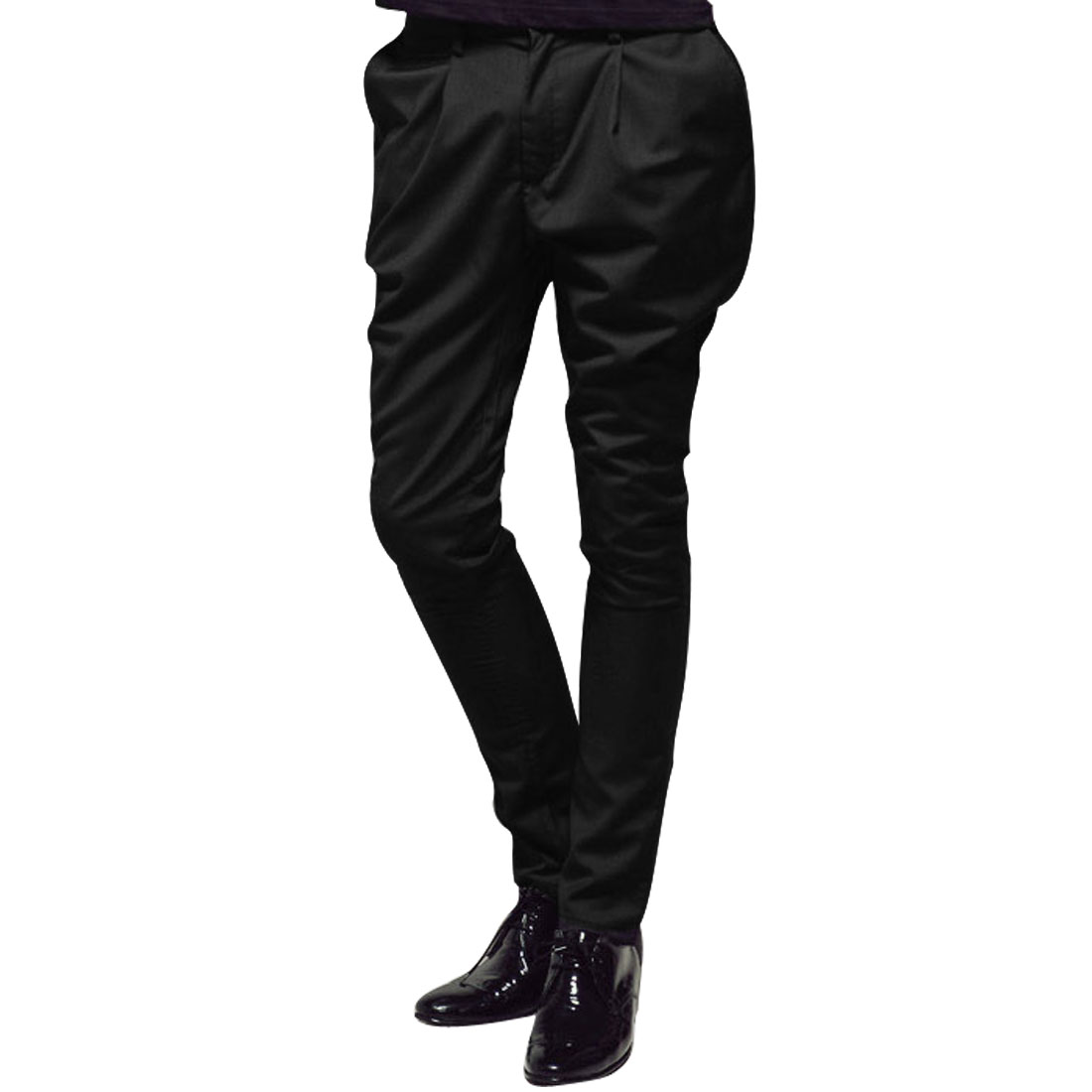 Men Belt Loops Zipper Fly Button Closure Design Casual Trousers W33 Black