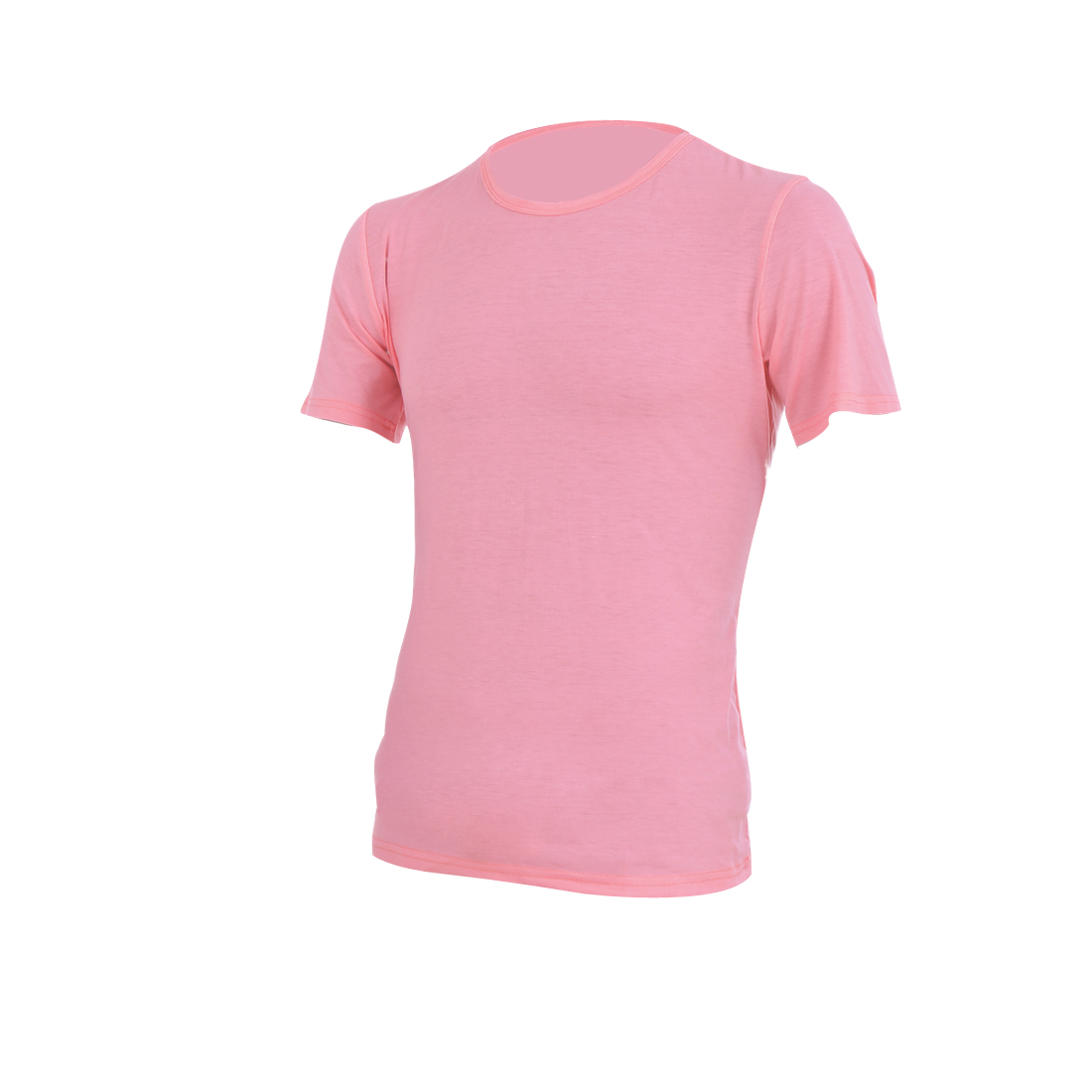 Pink M Solid Color Round Neck Slim Fit Design Stylish T-Shirt for Men