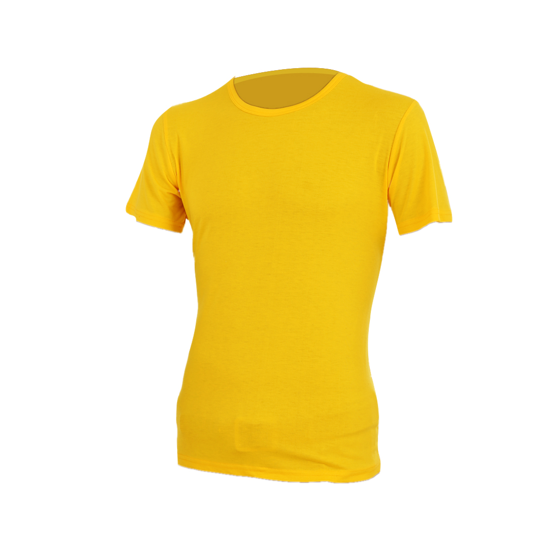 Yellow M Short Sleeve Solid Color Style Pullover Stretchy Men Summer Shirt