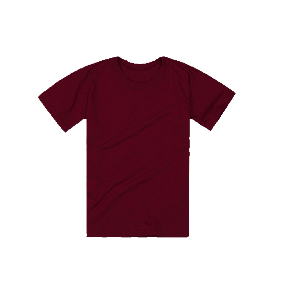 Burgundy M Solid Color Round Neck Slim Fit Design Stylish T-Shirt for Men