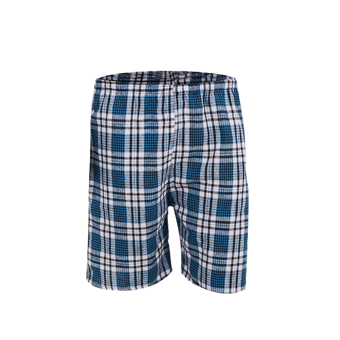 W29 Blue Plaids Print Color Block Elastic Waist Slant Pockets Shorts for Men
