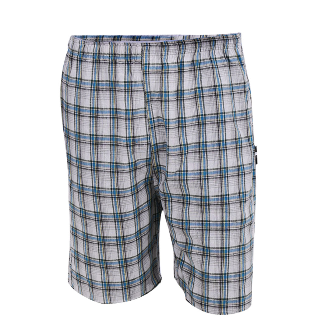 Plaids Pattern Drawstring Style Loose Hip Pockets Men Shorts White W29