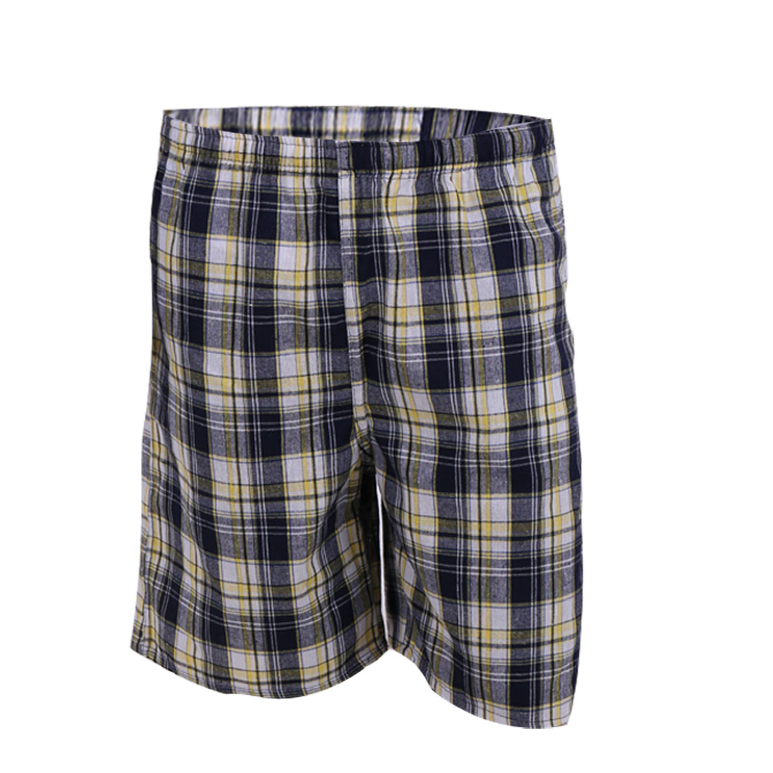 Men Drawstring Front Pocket Stretchy Waist Back Pocket Shorts W29 Yellow