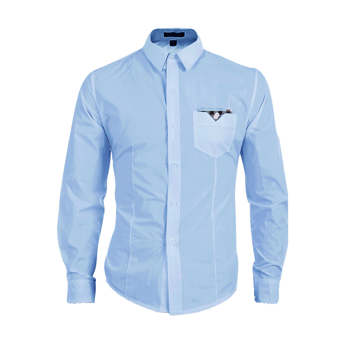 Men Button Front Long Sleeve Chest Pocket Shirt Light Blue M
