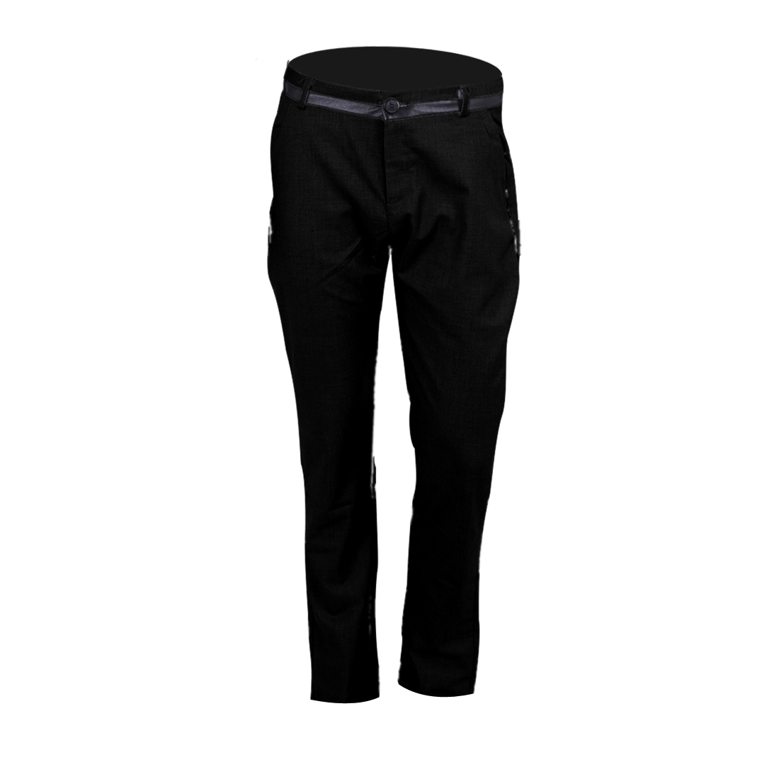 NEWS Men Zip Closure Slant Pockets Stylish Pants Black W32