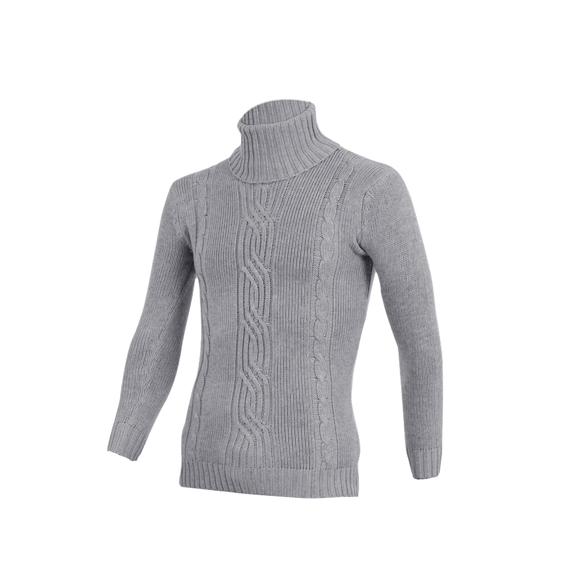 Men Turtle Neck Solid Color Style Long Sleeve Knitwear Sweater S Light Grey