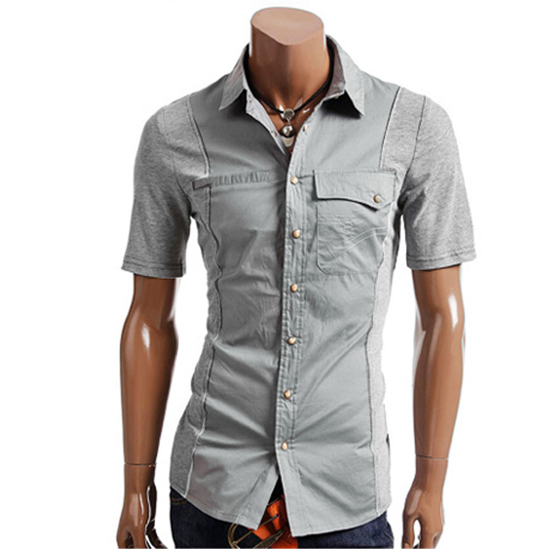 S Light Grey Splice Design Breast Pockets Button Down Men Stylish Shirt