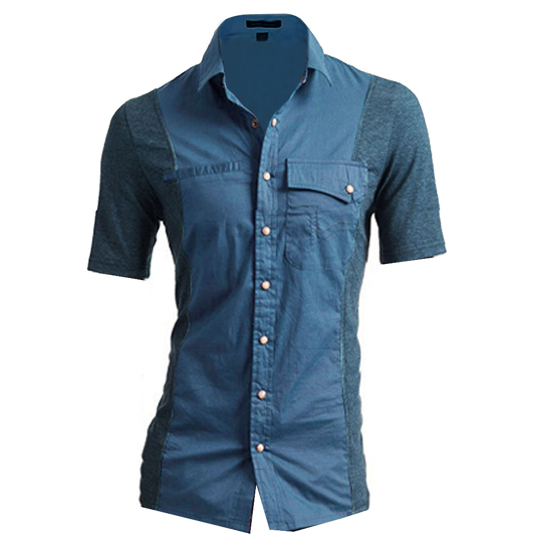 Men Point Collar Front Button Closure Two Chest Pockets Shirt S Blue