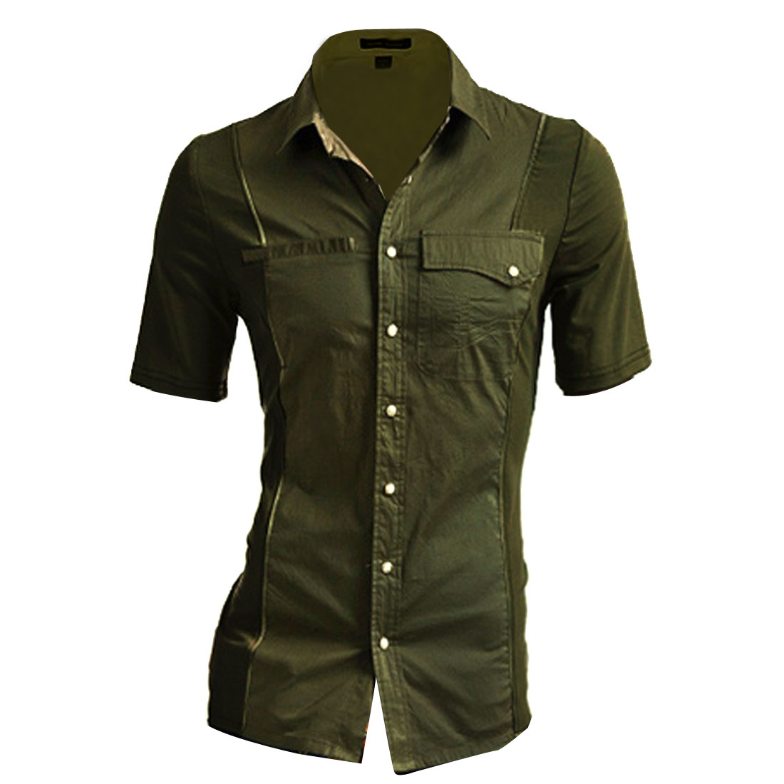 Men Point Collar Patchwork Design Short Sleeve Top Shirt S Olive Green